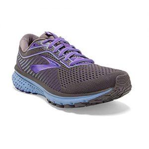 Brooks Womens Ghost 12 Running Shoe - Shark/Violet/Bel Air Blue
