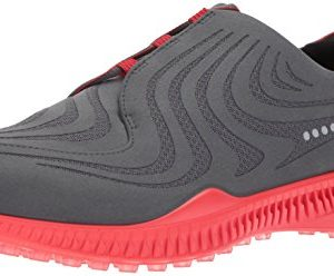 ECCO Men's S-Drive Golf Shoe, Dark Shadow/Tomato