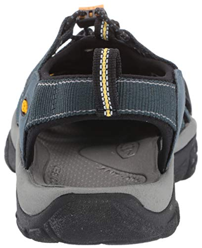 Keen Men's Newport H2 Sandal,Navy/Medium Grey Performance sport sandal featuring bungee lacing system and rear pull-on loop Supportive contoured arch ; Care: All KEEN water sandals are machine washable. Use a small amount of detergent, wash on gentle cycle and air dry. Fit Tip: This style is running a 1/2 size small. We suggest ordering a 1/2 size larger than your usual size Metatarsal ridge support Care - Machine washable, use a small amount of detergent, wash on gentle cycle and air dry Comfort meets major versatility in this classic water shoe. It has the airiness of a sandal and the toe protection of a shoe. The razor-sipped sole provides excellent traction, and the washable webbing upper is ready for hiking, walking.Fit Tip: This style is running a 1/2 size small. We suggest ordering a 1/2 size larger than your usual size!