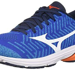 Mizuno Men's Wave Rider Knit Running Shoe, nautical blue-red orange