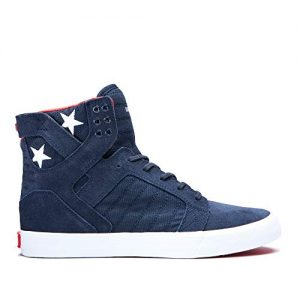 Supra Footwear - Skytop High Top Skate Shoes, Navy/Star-White