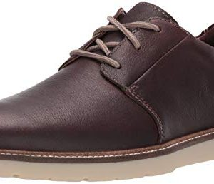 Clarks Men's Grandin Plain Oxford, Dark Brown Tumbled Leather