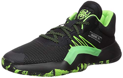 adidas Men's D.O.N. Issue #1 Basketball Shoe, Black/Team Solar Green/Silver Metallic