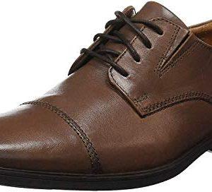 Clarks Men's Tilden Cap Oxford Shoe,Dark Tan Leather