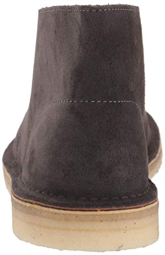 Clarks Men's Desert Chukka Boot, Slate Grey Suede Clarks Originals Heel Height 1 inch Boot Dimensions: shaft Width 6.5 inches, Shaft Circumference 12.99 inches, Shaft height 4.33 inches Premium Suede uppers and sheepskin sockliner Plantation Crepe outsole An international cult classic, the iconic lace-up from Clarks was inspired by the crepe-soled boots worn by british officers in world War ii. Crafted from natural materials for supreme comfort, its timeless styling has remained unchanged for over 60 years. Wear the desert boot anywhere and celebrate the art of vintage style.