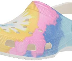 Crocs Women's Classic Tie Dye Graphic Clog, White/Multi