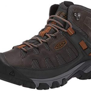 KEEN Men's Targhee Vent MID Hiking Boot, Raven/Bronze Brown