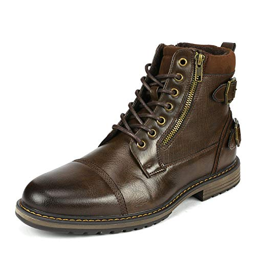 Bruno Marc Men's Philly_10 Brown Dress Combat Motorcycle Oxfords Chukka Boots