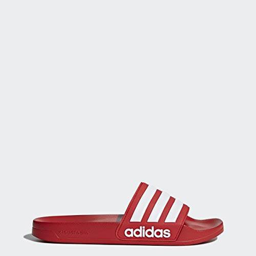 adidas Men's Adilette Shower Slide Sandal, Scarlet/White/Scarlet