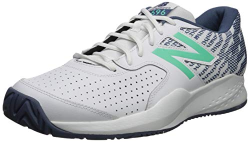 New Balance Men's Hard Court Tennis Shoe, White/Emerald