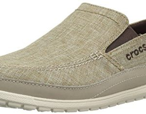 Crocs Men's Santa Cruz Playa Slip-On Loafer, Khaki/Stucco