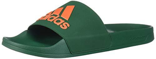adidas Men's Adilette Shower Mule, Dark Green/orange/dark Green