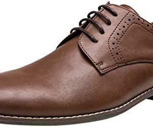 JOUSEN Men's Oxford Plain Toe Dark Brown Dress Shoes Classic Formal