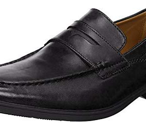 Clarks Men's Tilden Way Penny Loafer, Black Leather