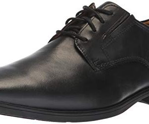 Clarks Men's Tilden Plain II Oxford, Black Leather