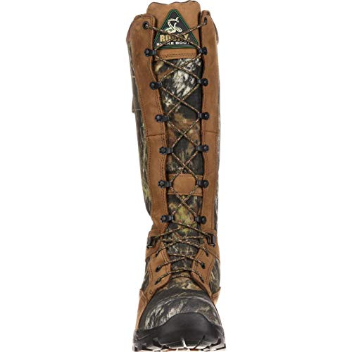 """Rocky Outdoor Boot Mens 16"""" Prolight Waterproof Snake 9 WI Mossy Oak Full-grain Leather and nylon 16 Inches Of Snakeproof Protection Guaranteed Rocky Waterproof Construction Polyurethane/Rubber Outsole As with any wild animal, confrontations with snakes should be avoided to ensure personal safety. That's why we've designed the Rocky pro light waterproof Snakeproof Hunting Boot. They will protect against most North American snakes; including rattlesnakes, copperheads, and coral snakes.There are sixteen inches of snakeproof protection on these hunting boots. Additionally, a full-grain leather trims the Mossy Oak camouflage nylon, a material that reinforces the Guaranteed Rocky Waterproof construction. So your feet will stay dry in any condition.With each step, The pro light BioMech outsole provides traction on rugged terrain. It's made of a PU/Rubber outsole, which is an added layer of defense against soggy feet.Our snake proof boots feature everything you need to stay out of harm's way. This boot can also be sized to fit women. Please refer to our size chart for women's sizing."""