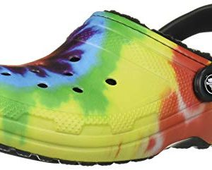 Crocs Classic Tie Dye Lined Clog, Multi/Black, 13 US Women / 11 US Men M US