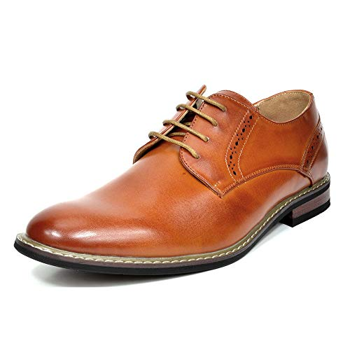 Bruno Marc Men's Prince-16 Brown Leather Lined Dress Oxfords Shoes