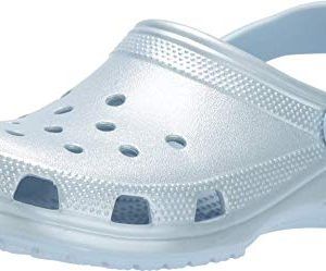 Crocs Classic Clog, Metallic Mineral Blue, 8 US Women / 6 US Men