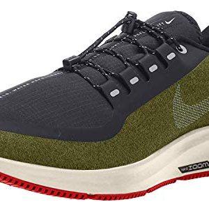 Nike Men's Air Zoom Pegasus 35 Shield Running Shoe Olive/Silver/Black