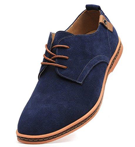 Dadawen Men's Blue Leather Oxford Shoe
