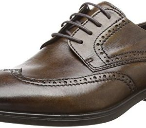 ECCO Men's Melbourne Wingtip Tie Oxford, Cocoa Brown