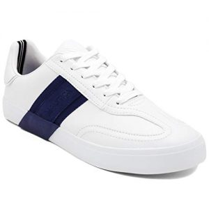 Nautica Men's Townsend Casual Lace-Up Shoe,Classic Low Top Loafer, Fashion Sneaker-White/Navy-11