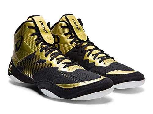 ASICS Men's JB Elite IV Wrestling Shoes, 4M, Rich Gold/Black Take the mat with the Jordan Burroughs signature wresting shoe: the ASICS® JB Elite IV. Breathable mesh uppers in a supportive, hi-top silhouette. Synthetic overlay throughout upper provides added durability in high-stress areas. Lace-up closure provides a custom fit. Hook-and-loop closure at tongue for securing laces. Split, rubber outsole for added durability and dexterity. Imported. Measurements:Weight: 8.9 oz</p> <p>Product measurements were taken using size 12, width D - Medium. Please note that measurements may vary by size. Weight of footwear is based on a single item, not a pair. Follow in the footsteps of US wrestling star Jordan Burroughs with the JB ELITE IV unisex wrestling shoe from ASICS. Inspired by the World Championship-winning athlete, the footwear is designed to both look good and support you every step of the way as you do battle in the ring.