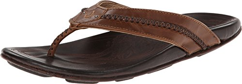 OLUKAI Men's MEA Ola Sandals, Tan/Dark Java