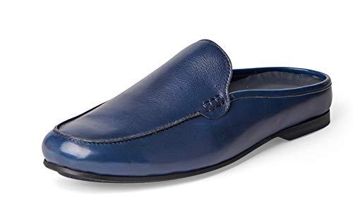 Carlos Santana PLANEO Leather Slip in Comfort Slides | Mules (9 D US, Navy Blue)
