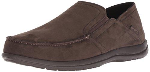 Crocs Men's Santa Cruz Convertible Leather Slip-On Loafer Flat, Espresso/Espresso