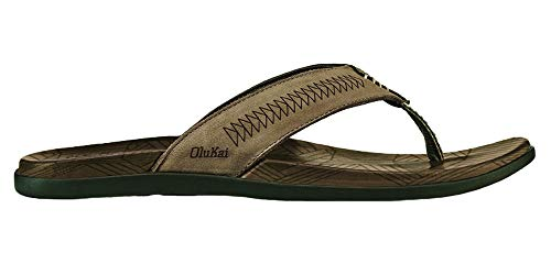 OLUKAI Men's Hawai'Iloa Kia Ihu Sandal, Taupe Grey/Husk