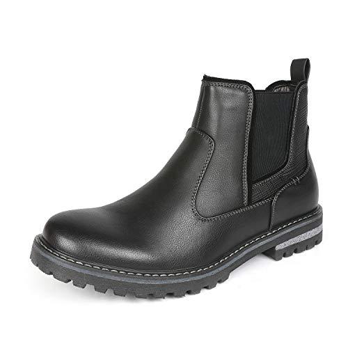 Bruno Marc Men's Engle-03 Black Faux Fur Lined Chelsea Ankle Boots