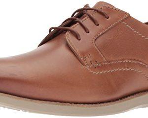 Clarks Men's Raharto Plain Oxford, Dark tan Leather