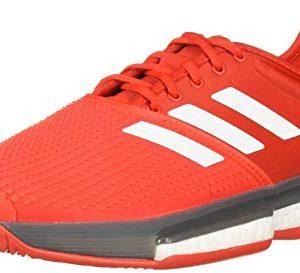 adidas Men's SoleCourt Boost Tennis Shoe, Active Red/White/Grey