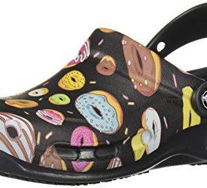 Crocs Unisex Bistro Work Clog, Black/Multi Donuts