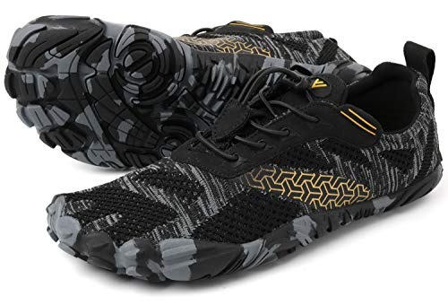 WHITIN Men's Cross-Trainer | Barefoot & Minimalist Shoe | Zero Drop | Wide Toe Box | Five Fingers | Gym Fitness Workout Trail Running | Male Black | Size 10