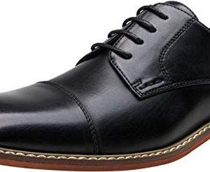 VOSTEY Men's Oxford Formal Dress Shoes Business Cap Toe Derby Shoes