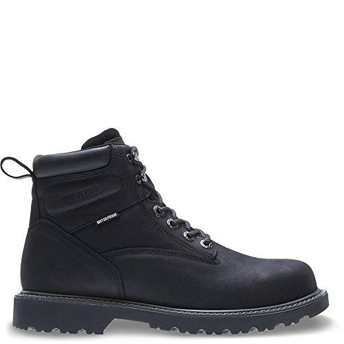 """Wolverine Men's Floorhand Waterproof 6"""" Steel Toe Work Boot, Black, 9 M US"""