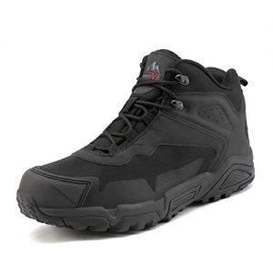 NORTIV 8 Men's Waterproof Hiking Boots Outdoor Lightweight Mid Trekking Backpacking Shoes Black Size 11 US JS19001M