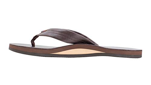 Rainbow Sandals Men's Premier Leather Single Layer Wide Strap Single Layer Arch Embossed Rainbow Logo Double Stitched Nylon Toe Piece Box X Toe Construction The Rainbow Premier Leather is Rainbow's most well known Men's flip flop. It features a nubuck leather top sole, embossed with the Rainbow logo. The nubuck leather strap is double stitched, and the nylon toe piece is secured with a box X stitch, all with bonded nylon thread. The single layer midsole and arch support are triple glued for maximum durability to the non slip Rainbow bottom. It is finished off with the original Rainbow woven label on the strap, the mark of a genuine Rainbow sandal. If any sandal says Rainbow, it is the Rainbow Premier Leather!