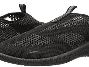 Speedo Men's Surf Knit Athletic Water Shoe, Black/Dark Gull