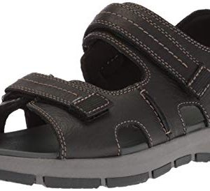CLARKS Men's Brixby Shore SanCLARKS Men's Brixby Shore Sandal, Black Leatheral, Black Leather