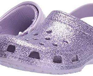Crocs Kids' Classic Glitter Clog, Lavender, 11 M US Little Kid