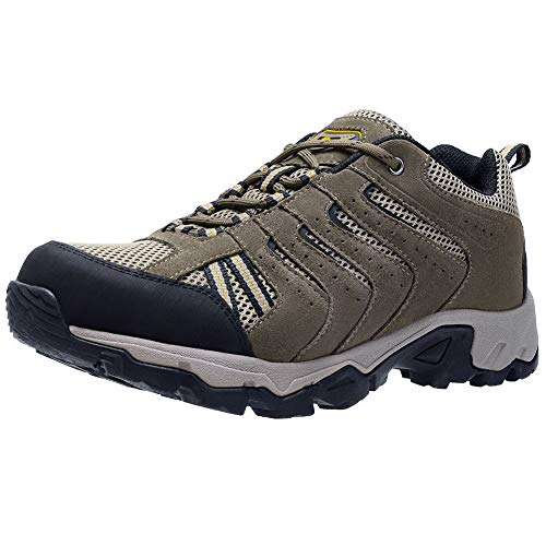CAMEL CROWN Mens Leather Hiking Shoes Lightweight Slip-Resistant Walking Sneakers for Outdoor Trail Trekking Khaki