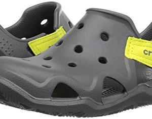 Crocs Kids' Swiftwater Wave Slip-On Sandal, Slate Grey/Tennis Ball Green