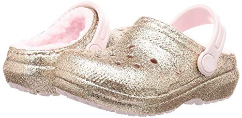Crocs Kid's Classic Glitter Lined Clog, Gold/Barely Pink