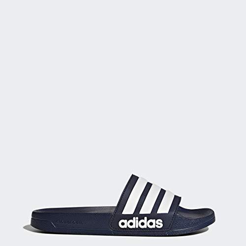 adidas Men's Adilette Shower Slide Sandal, White/Collegiate Navy, 10 M US