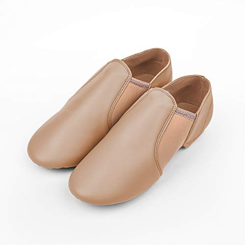 STELLE Leather Jazz Slip-On Dance Shoes for Girls Boys Toddler Kid