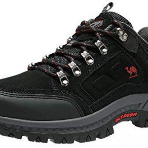 CAMEL CROWN Men's Outdoor Leather Hiking Shoes Breathable Lightweight Sneaker for Walking Trekking,Black,EU46/US12